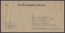 UK: Official Cover To Germany, 1981, Meter Cancel, By German Liaison Officer Navy Base Portland, Military (minor Damage) - 1952-.... (Elizabeth II)