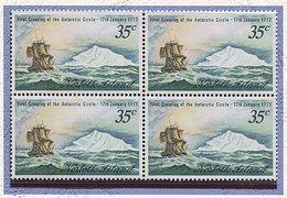 Norfolk **n° 131 En Bloc De 4 - Bicent. De La Traversée Du Cercle Antarctique Par Le Capitaine Cook - - Briefmarken