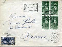 20055 Italia,circuled Registered Cover 1955 With Bloc Of 4 Battista Grassi,zoologist,mosquito Malaria,microscope - Stamps