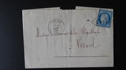 France - Lettre Enveloppe - GC 1143 Corre - 25c Cérès - Année 1874 - Marcophilie (Lettres)