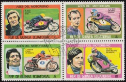 GUINEA EQUATORIAL REP. - SW1187 @ SW1190 Motorcyclists / Used Block Of 4 Stamps (bk997) - Equatorial Guinea