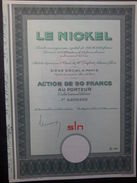 1 Le NICKEL Action 50 FR + Coupons SPECIMEN N 00000 - Actions & Titres