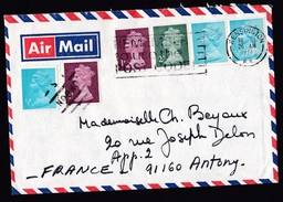 UK: Airmail Cover Kensington Via London To France, 1974, 6 Stamps Machin, Booklet Strip, Cancel London (traces Of Use) - 1952-.... (Elizabeth II)