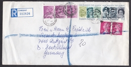 UK: Registered Cover Liverpool To Germany, 1986, 7 Stamps, Queen, Machin, Cancel Kingsley Road Bootle (traces Of Use) - 1952-.... (Elizabeth II)