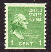 USA 1938-51 Presidential Series 1c George Washington Coil Stamp, Imperf. X P.10, MNH (SG 832)