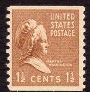 USA 1938-51 Presidential Series 1½c Martha Washington Coil Stamp, Imperf. X P.10, MNH (SG 833)