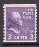 USA 1938-51 Presidential Series 3c Thomas Jefferson Coil Stamp, Imperf. X P.10, MNH (SG 835)