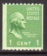 USA 1938-51 Presidential Series 1c George Washington Coil Stamp, P.10 X Imperf., MNH (SG 841)