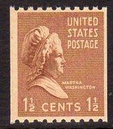 USA 1938-51 Presidential Series 1½c Martha Washington Coil Stamp, P.10 X Imperf., MNH (SG 842)
