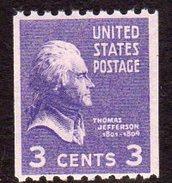 USA 1938-51 Presidential Series 3c Thomas Jefferson Coil Stamp, P.10 X Imperf., MNH (SG 844)