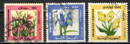 TUNISIA - 1987 - FIORI: GLADIOLO, IRISI E TULIPANO - USATI - Tunisia (1956-...)