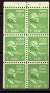 USA 1938-51 Presidential Series 1c George Washington Booklet Pane Of 6, MNH, Light Hinge Mark At Top (SG 800c)