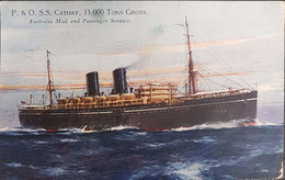 Great Britain 1922 Postcard Paqubot. SS Cathay Mail And Passenger Service Ship. See 2 Scans - 1902-1951 (Kings)