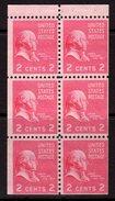 USA 1938-51 Presidential Series 2c John Adams Booklet Pane Of 6, MNH, (SG 802a)
