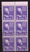 USA 1938-51 Presidential Series 3c Thomas Jefferson Booklet Pane Of 6, MNH, (SG 803c)