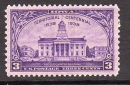 USA 1938 3c Iowa Centennial, Lightly Hinged Mint (SG 848)