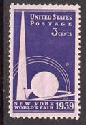USA 1939 3c New York World's Fair, Lightly Hinged Mint (SG 850)
