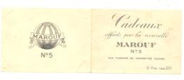 """Feuillet (2 Volets) Cadeaux Offerts Par Les Cigarettes """" MAROUF N° 5 """" (rl) - Cigarettes - Accessoires"""