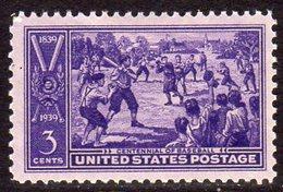 USA 1939 3c Centennial Of Baseball, Lightly Hinged Mint (SG 852)
