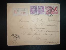 LR TP POSTE AERIENNE 50F + MARIANNE DE GANDON 10F X2 OBL.21-4-1949 PERONNE (80 SOMME) GRIFFE LINEAIRE - Posttarife