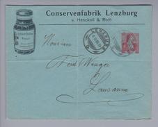 Motiv Lebensmittel Lenzburg 1908-02-06 Illustrierte Privat-Ganzsache Conservenfabrik Lenzburg(Hero) - Alimentation