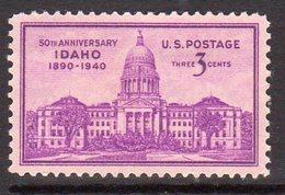 USA 1940 50th Anniversary Of Idaho, Hinged Mint (SG 893)