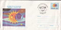 ASTRONOMY, TOTAL SOLAR ECLIPSE, COVER STATIONERY, ENTIER POSTAL, 1999, ROMANIA