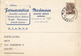 MICHELANGELO PAINTING, STAMPS ON DRUGSTORE HEADER POSTCARD, 1963, ITALY - 1961-70: Gebraucht
