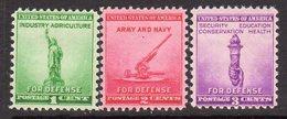 USA 1940 National Defence Set Of 3, Hinged Mint (SG 896-8)