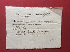 PREFILATELIA LOMBARDO VENETO MANTOVA RICEVUTA DI UNA LETTERA IN DATA 11/8/1851 - ...-1850 Voorfilatelie