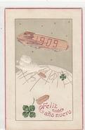 1909 - Neujahrswünsche Im Zeppelin - Prägekarte - Nicht Häufig    (A30-140721) - Nouvel An