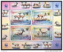 Niger 1998. Michel #1460/63 MNH/Luxe. Klb. WWF. Dorcas Gazelle. (Ts55) - Unused Stamps