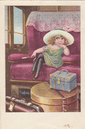 Mädchen Im Zug - Int. Finnische Frankatur & Abstempelung - 1926     (A30-130421) - Künstlerkarten