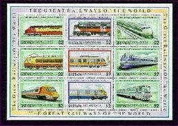 GRENADA  &  1381  MINT NEVER HINGED MINI SHEET OF TRAINS - Treinen