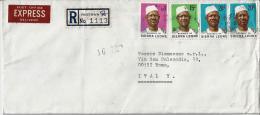 SIERRA LEONE 1980) Storia Postale Espresso Per Roma - Sierra Leone (1961-...)