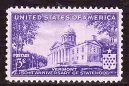 USA 1941 150th Anniversary Of Vermont, Hinged Mint (SG 900) - United States