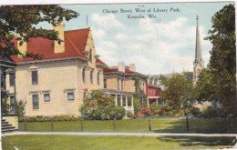 Wisconsin Kenosha Chicago Street West Of Library Park 1909 Curteich - Kenosha