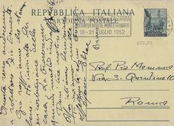 """ANNULLO A TARGHETTA """"MOSTRA CALZATURA..."""" 1952 UFF. PESCARA - ORNAGHI 637.52 SU INTERO QUADRIGA CHLORODONT - 1946-60: Marcophilia"""