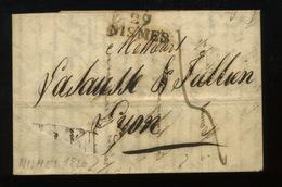 1820  Lettre De Nismes Vers Lyon    Face Avant Abîmée - Marcophilie (Lettres)