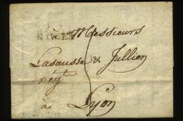 1810  Lettre De Nismes Vers Lyon - Marcophilie (Lettres)