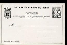 CONGO Postal Card #4 Var 10 Cent. Mint Vf 1889 - Ganzsachen