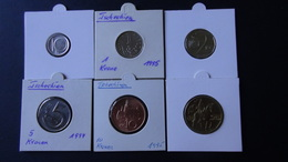 Czech Republic - 1994,1995,1999 - 10 Heller + 1,2,5,10,20 Kronen - KM 6,7,9,8,4,5 - VF/XF - Look Scans - Tchéquie