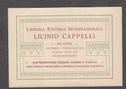 BOLOGNA LIBRERIA LICINIO CAPPELLI SANSONI PARAVIA CARTONCINO/CARTOLINA FG V  SEE 2 SCANS - Bologna