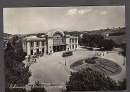 1957 SALSOMAGGIORE STAZIONE FERROVIARIA CON PULLMAN FG V  SEE 2 SCANS ANIMATA - Other Cities