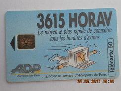 Télécarte 50 Minitel 3615 HORAV  Le Moyen Le Plus Rapide De Connaitre Tous Les Horaires D'avions ADP 1993 - Avions