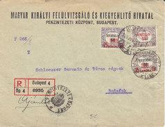 3 Timbres De Service Sur Lettre Recommandée De Budapest Pour Budafok ,1923 ,2 Scans - Ungheria