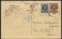 PREO ROULETTE ARLON 1926 En Complément S/entier CP 15c Houyoux 1926. NON ADMIS Et Gffe T. Rare!!
