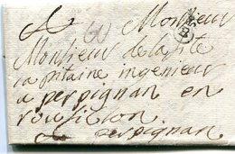 Lettre De Bordeaux (B Couronné .N° 11) Du 7/7/17873 Sur Lettre Entiere Pour Perpignan. Frappe Luxe - Marcophilie (Lettres)