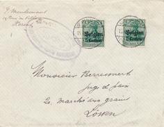 034/25 - FRANCE - Enveloppe TP Germania Belgien MAUBEUGE  Frankreich 1916 - Censure Maubeuge - WW I
