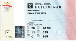 SPAIN 1992 Olympic Games Ticket Volleyball Match Cuba - Algeria (men) July 28 - Biglietti D'ingresso